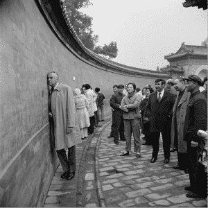 Whitlam Gough at The Echo Wall in Temple of Heaven, Beijing