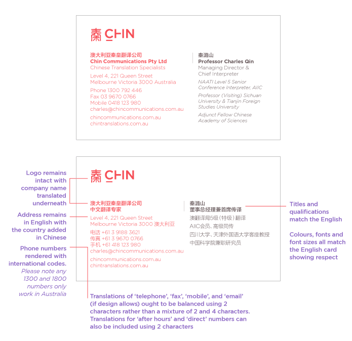 Chinese Business Card Translation & Printing Accurate Copies