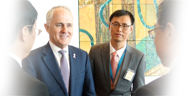 Prime Minister Malcolm Turnbull with Chinese Translator – a tough gig